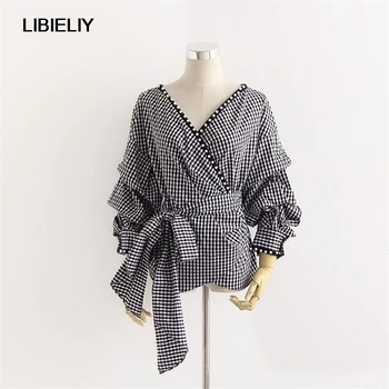 Black Plaid With Belt Blouses Women Nice Autumn Fashion Long Sleeve Whit Peals Blouses And Shirts Woman Vintage Blouses Female фото