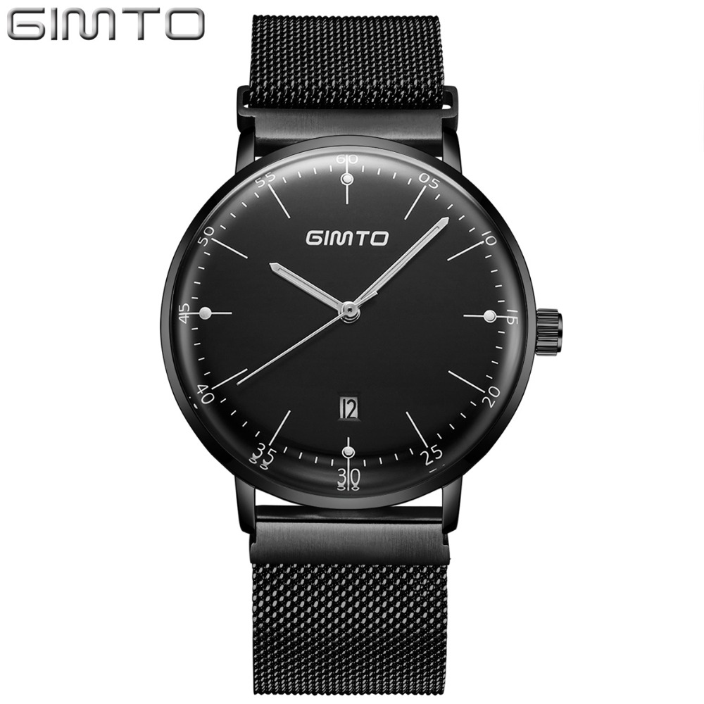 GIMTO Top Brand Simple Men Quartz Watch Calendar luminous Steel Business Wristwatch Waterproof Clock Luxury Male Watches Relogio luxury men gold watch top brand antique unique style dress business man quartz watch gimto simple casual male golden clock