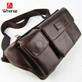 Brand Logo ! Men's Genuine Leather Cowhide Fanny Chest Pack Waist Pack Brown Black Men Casual Travel Multi Pocket Belt Bag