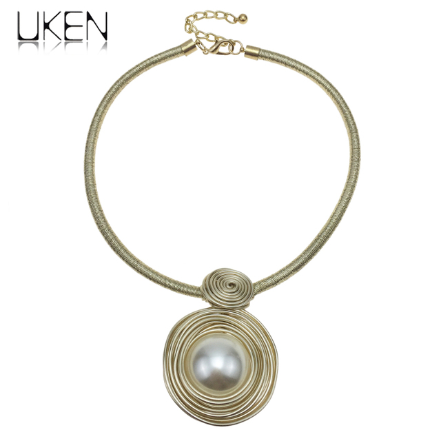 UKEN Handmade Wrap Wire Simulated Pearl Necklaces For Women 2018 Fashion Jewelry