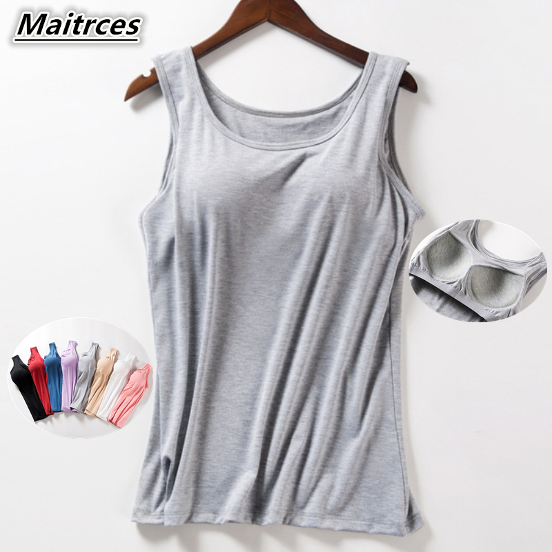 Women's Summer 2019 New   Tank     Tops   Shirt Modal Underwear Plus Size Female T-shirt Camisole Blouse Built In Bra