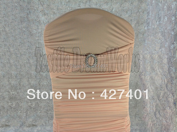 Hot Sale Peach Pink Spandex Bands / Lycra Band With Oval Buck  For Wedding & Banquet