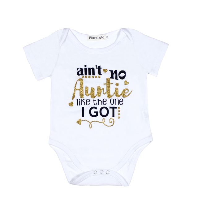 2018 Newborn Baby Bodysuit Short Sleeve Baby Boy Girl Clothes Funny Auntie Uncle Tiny Cottons Dinosaur Baby Onesie 0-18M