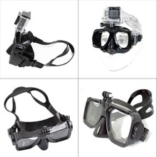 Hot Sale sport Camera Mount Diving Mask Scuba Snorkel Swimming Goggles for GoPro Hero 4 black silver session 3+ for xiaomi yi 4k