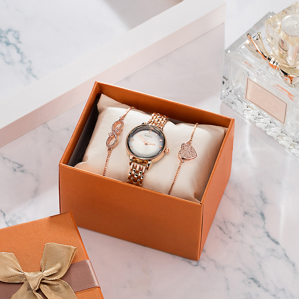New Bracelet Watches sets women fashion smart wrist watches with 2 Pcs chain jewelry bracelet gift watch box Top hot sale