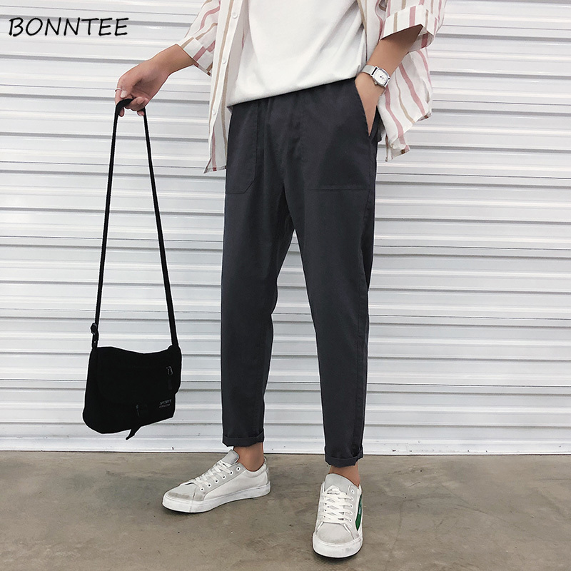 Pants Men Chic Straight Leisure Pant Loose Ankle-length Mens Solid Simple All Match Comfortable Males Ulzzang Daily Trousers