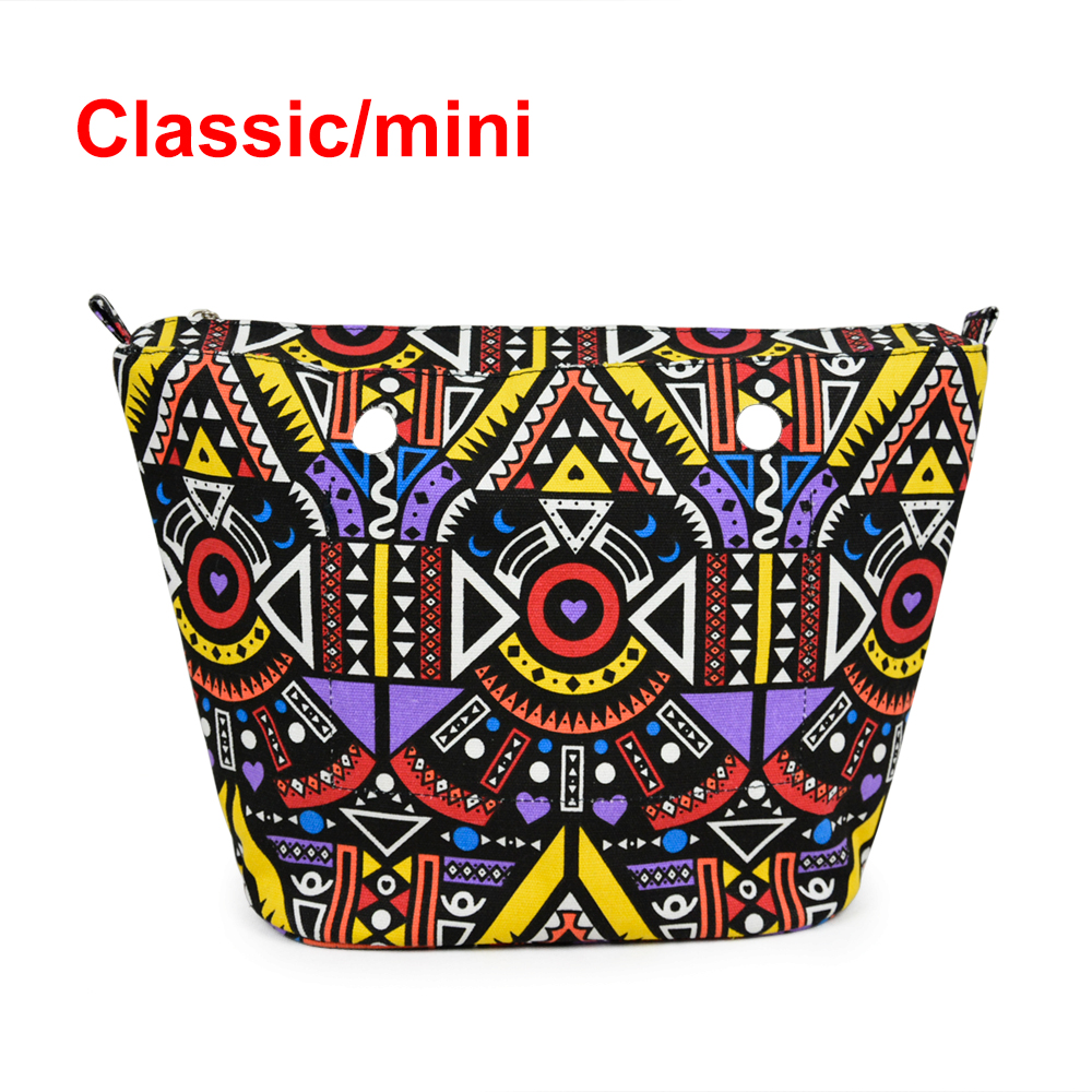 1 Piece Colourful Cute Cartoon Insert Lining Inner Pocket for Classic Mini Obag O Bag Women's Should Bags Totes Handbags new colorful cartoon floral insert lining for o chic ochic canvas waterproof inner pocket for obag women handbag