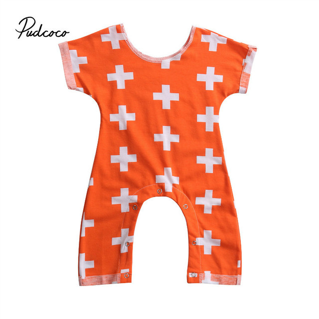 80e45e60643 Pudcoco Newborn Baby Girls Boy Clothing Romper Cross Short Sleeve Jumpsuit  Cute Outfits Baby Boys Clothes 2 Color Orange Blue