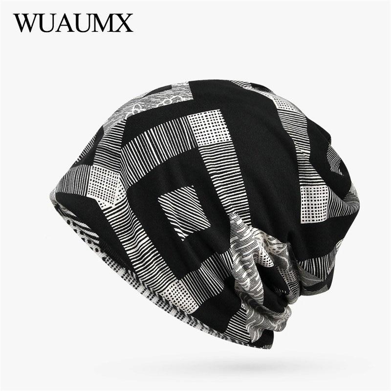 Wuaumx Spring Summer   Beanies   Hats For Men and Women Geometric Turban Hats Hip-Hop Hedging Hats   Skullies     Beanies   Balaclava Cap