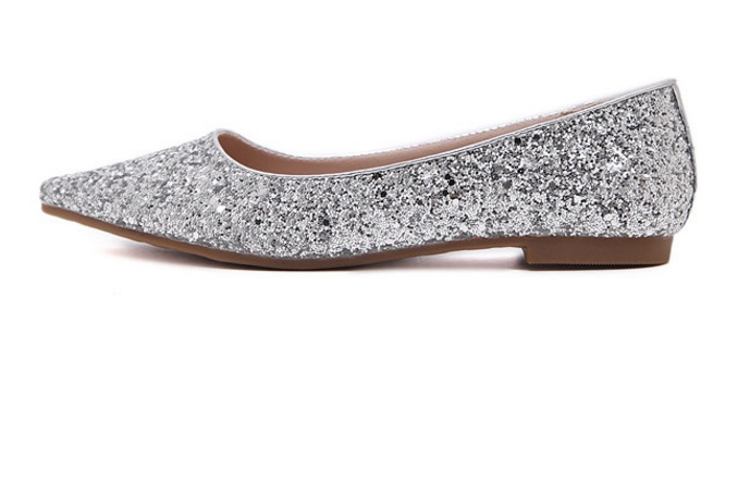Ladies Sequined Cloth Flats For Wedding Party Pointed Toe Mujer Cover Heel Slip-ons Bling Shoes Plus Size 45 13 34 Gold Silver