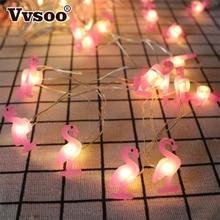 Vvsoo 2M LED Flamingo String Light Unicorn Decoration 20 Lights Pineapple Party Baby Shower Wedding Bedroom Decor