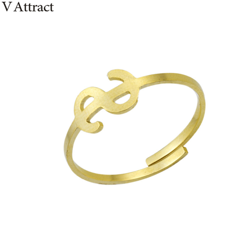 V Attract Vintage Dollar Sign Ring Women Men Jewelry Best Friends Gift 2018 Rose Gold Anillosl Stainless Steel Stackable Rings