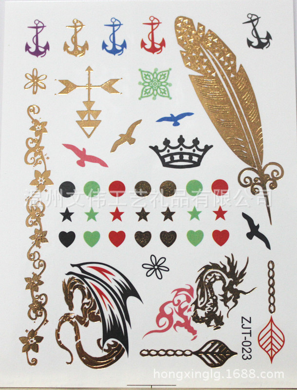 Metallic Gold Silver Feather Dragon Ankle Sex Products Temporary Transfer Tattoo Paper for Hand Rainbow Flash Design