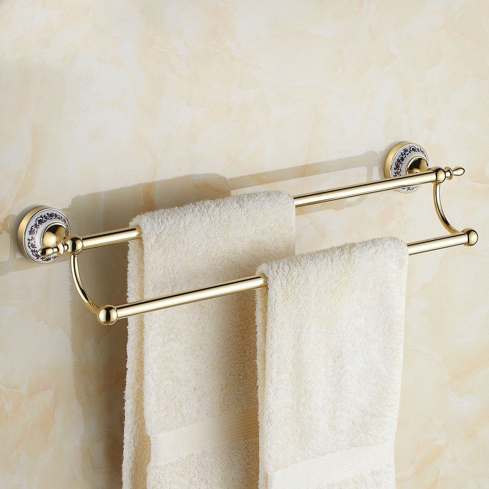 Gold Towel Rails For Bathrooms: All Copper Double Bar Towel Rack Bathroom Accessories