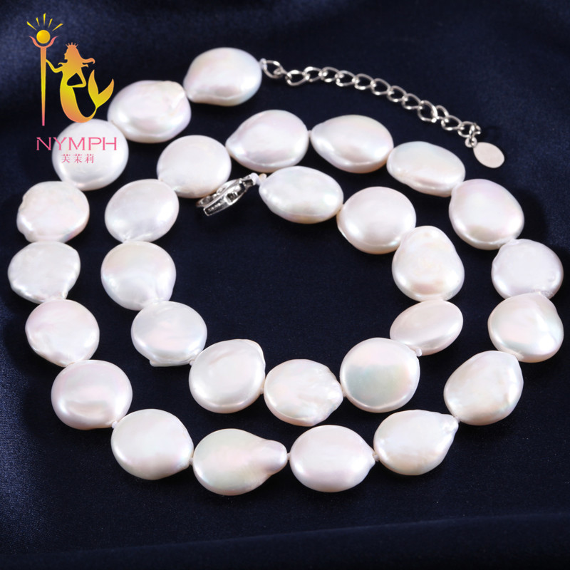 [NYMPH]Baroque Pearl Necklace Peal Jewelry Big Natural Freshwater White Fashion Choker Trendy Fine Party Gift For Women XX003 [nymph ]natural pearl necklace pearl jewelry white freshwater choker necklace trendy for wedding party fine jewelry x120