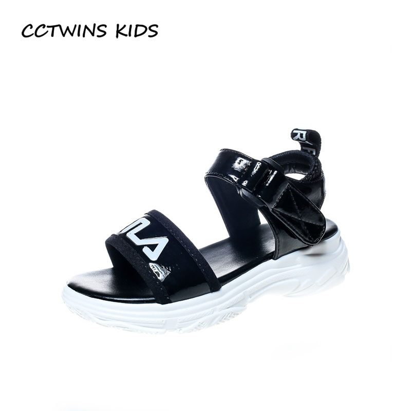 CCTWINS KIDS 2018 Summer Boy Casual Sport Shoe Baby Girl Pu Leather Flat Children Fashion Barefoot Beach Sandal Black BB219