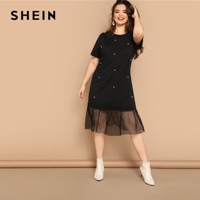 SHEIN Plus Size Casual Black Pearl Beading Partchwork Sheer Dot Mesh Hem Women Straight Dresses 2019 Summer Short Sleeve H Dress 3