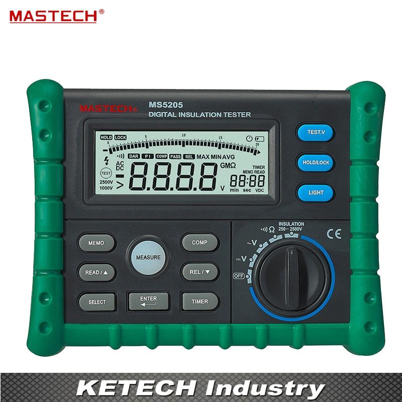 Portable High Quality Digital Insulation Tester Megger MegOhm Meter DC250/500/1000/2500V AC750V MS5205 digital insulation resistance meter tester ms5205 2500v analogue multimeter megohm meter 0 01 100g ohm