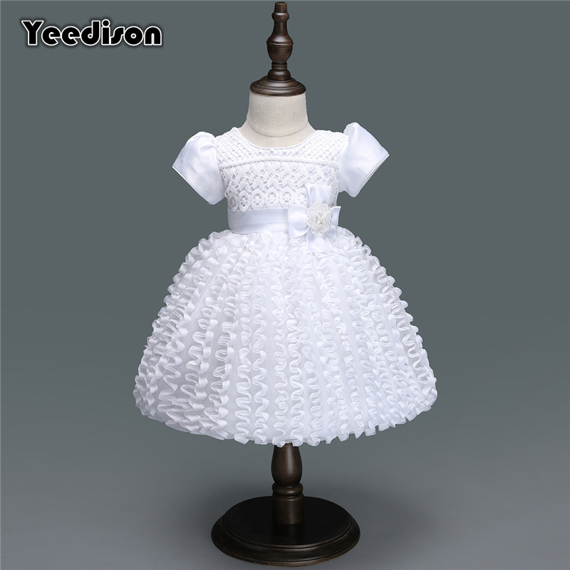 White Baby Dresses Girl Newborn 1st Year Birthday Infant Outfit Cute Princess Party Wedding Christening Dress Gown For Baby Girl xmas santa claus 1st brown top baby girl pettiskirt outfit 1 8y mapsa0036