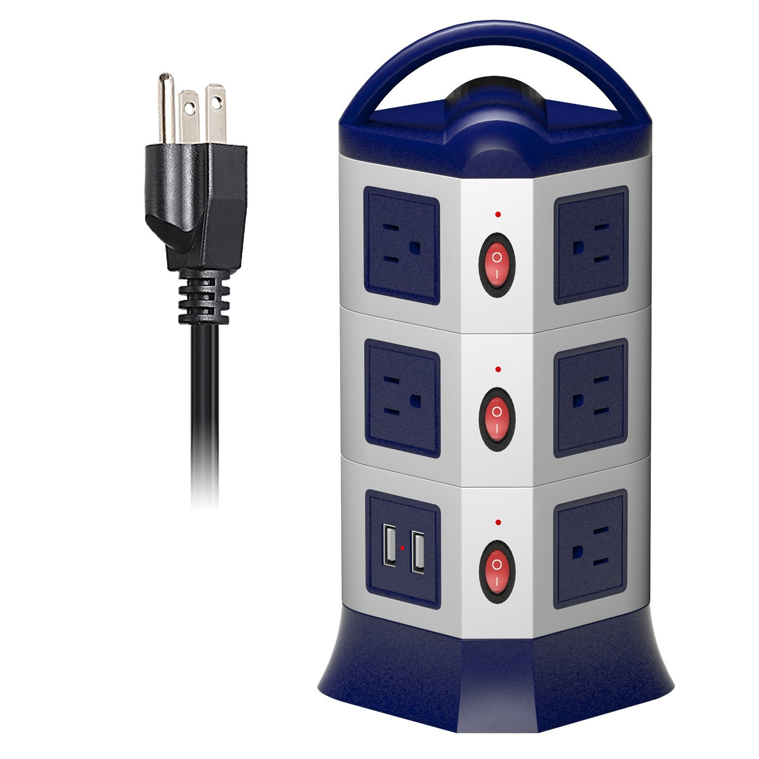 Retractable Power Cord >> Us 30 59 15 Off Power Strip Tower Surge Protector 1 8m Retractable Extension Cord Usb Socket 11 Outlets 2 Usb Ports Individual Switch Control In