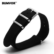 Top Quality Retro Wholesale 18 mm Black Army Sports Nato fabric Nylon watchband Watch Strap accessories Bands Buckle belt 18mm