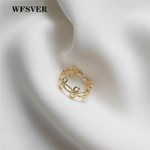 WFSVER women gold color 925 sterling silver ring korea style chain flower rings openwork opening adjustable fine jewelry gift wfsver 925 sterling silver ring for women korea style gold color curved fashion rings opening adjustable fine jewelry gift