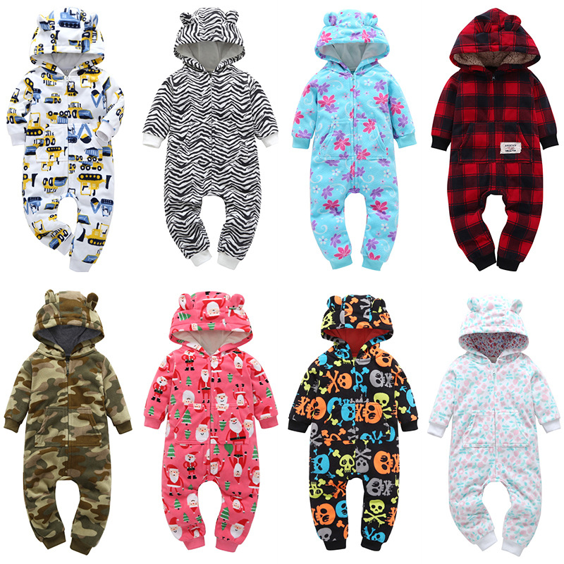 New Spring Autumn Children <font><b>Fleece</b></font> <font><b>Romper</b></font> <font><b>Baby</b></font> Boys <font><b>Girls</b></font> Hooded Climbing <font><b>Clothes</b></font> Infants <font><b>Christmas</b></font> Cartoon Jumpsuits image