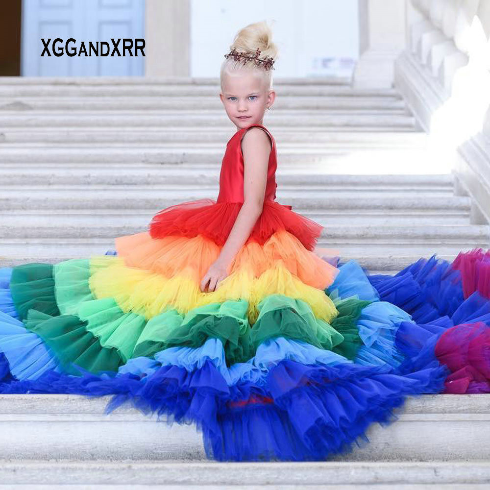 Colorful Rainbow Flower Girl Dress 2019 Scoop Layers Kids Pageant Dresses For Girls First Primera Comunion Luxury Gown Gown