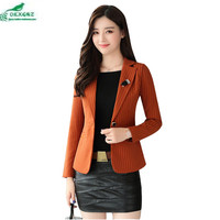 Autumn small suit Outerwear female new Korean simple stripes professional women's jacket coat Slim big fashion tide coat OKXGNZ