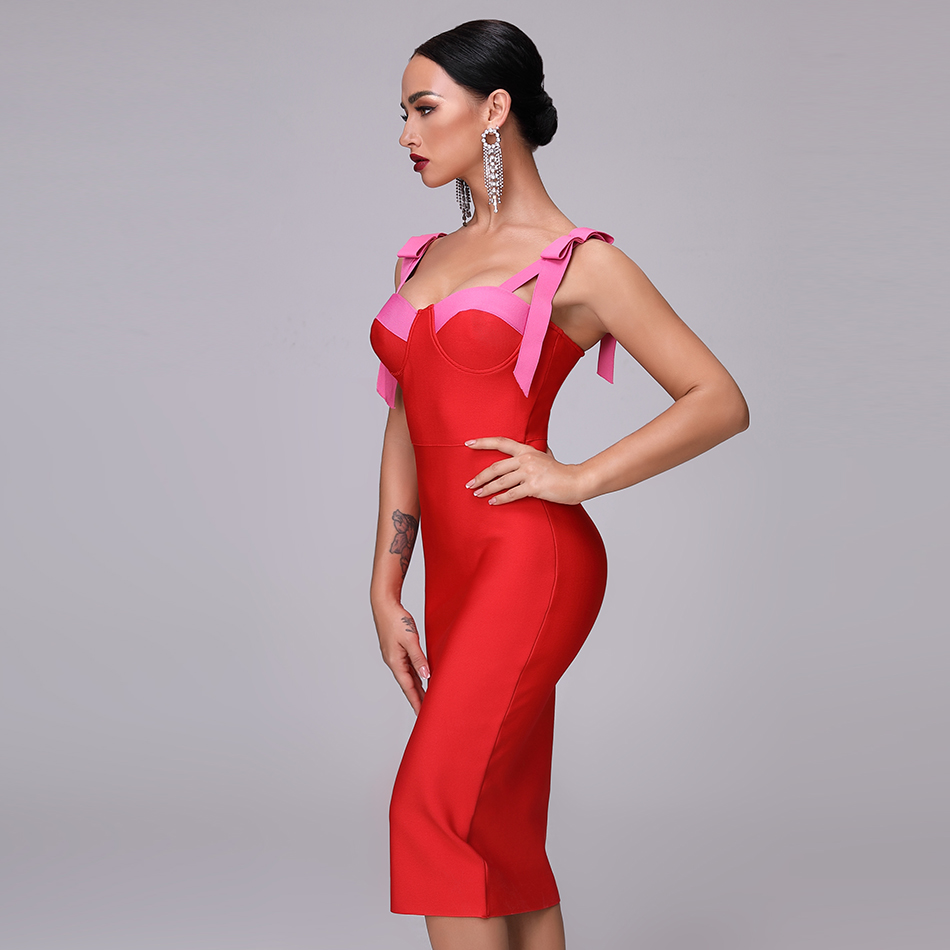 High Quality Sexy  Red Party Bandage Christmas  Dress 2019 New Autum Women'S Fashion Elegant Party Spaghetti Bow Bodycon Dress