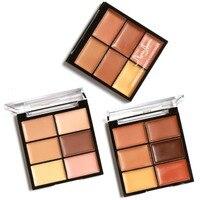 New Brand Full Coverage Cream Contour Kit Pro 6 Colors Concealer Makeup Palette Concealer Face Primer for all skin types