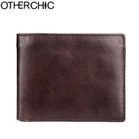 OTHERCHIC Genuine Cowhide Leather Purse Men Wallets Short Purse Card Holders Male Small Wallets Men Purses