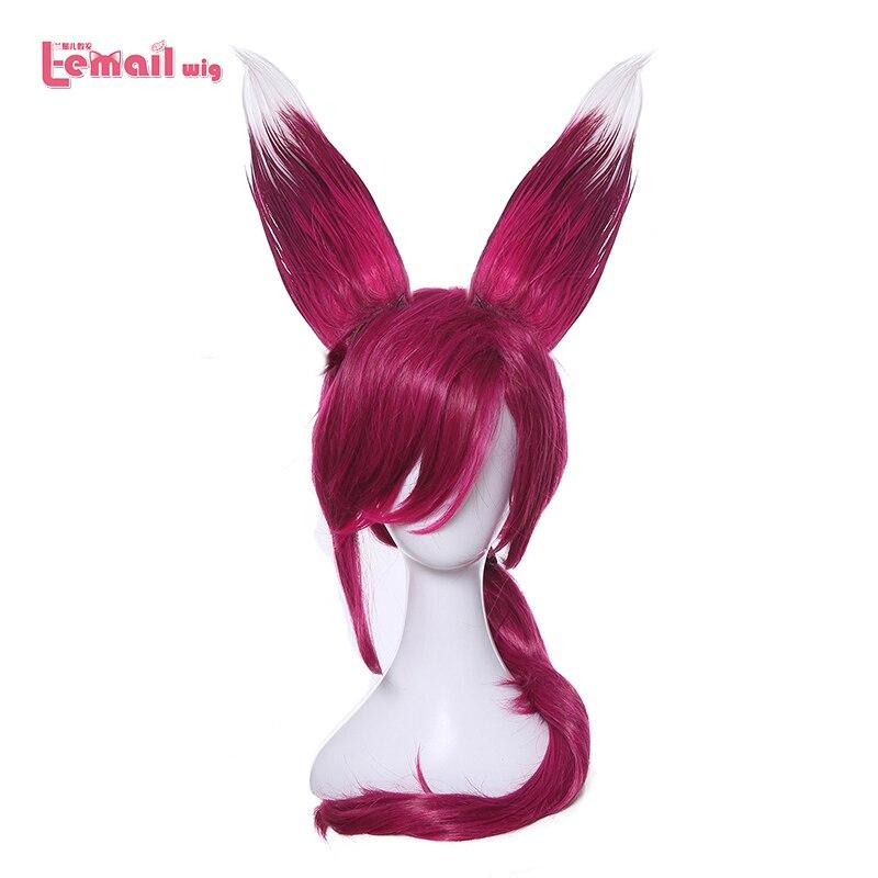 L-e-mail peruca personagem jogo lol xayah cosplay perucas cor vermelho 70 cm/27.55 polegadas resistente ao calor peruca de cabelo sintético perucas cosplay