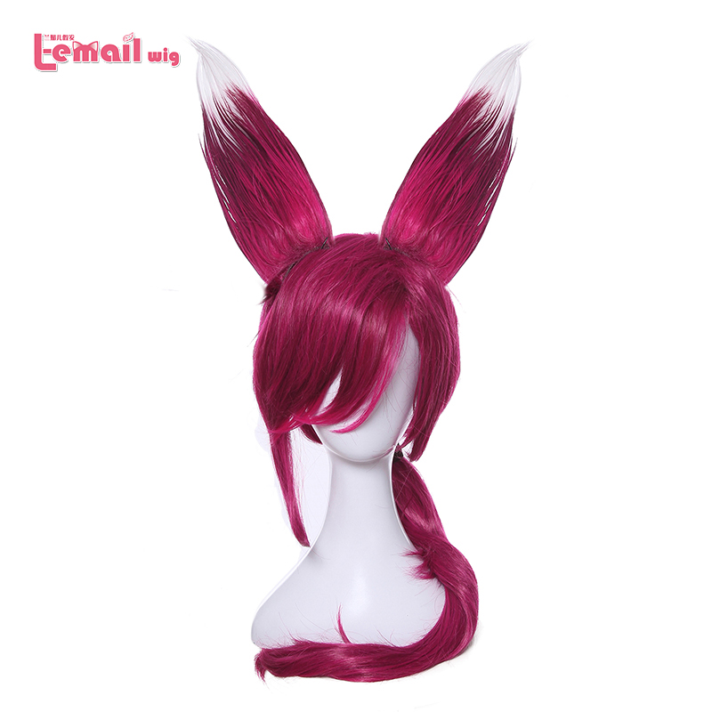 L-email פאה משחק LOL Xayah Cosplay פאות צבע אדום 70cm / 27.55inches חום עמיד סינתטי שיער perucas Cosplay פאה