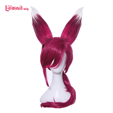 L email wig Game LOL Xayah Cosplay Wigs Color Red Cosplay Wig with Ears Ponytail Heat Resistant Synthetic Hair Women Hair Wig