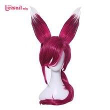 L mail parrucca Gioco LOL Xayah Cosplay Parrucche di Colore Rosso Cosplay Parrucca con Le Orecchie Coda di Cavallo Sintetico Resistente Al Calore Dei Capelli parrucca di Capelli delle donne