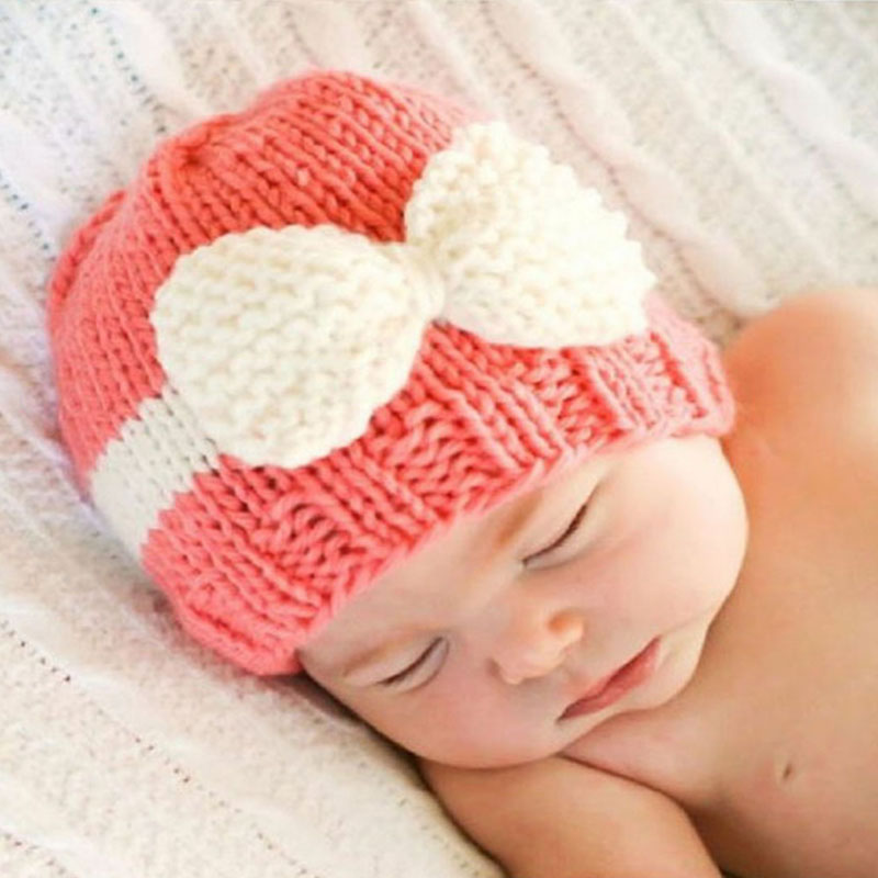 US $4 44 5% OFF|Newborns Baby knitting wool hat hot spell color bow bow  baby warm winter hat Baby boy girl winter must, cute 2mz5-in Hats & Caps  from
