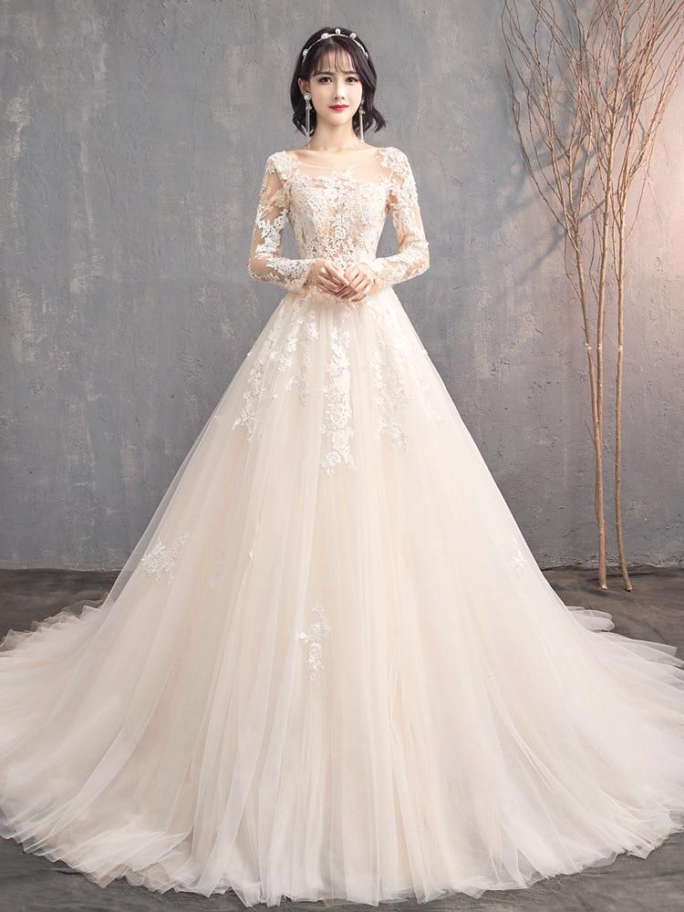Vestido de Noiva 2019 Muslim Wedding Dresses Appliques Lace Beaded Long Sleeves Puffy Wedding Gown Bridal