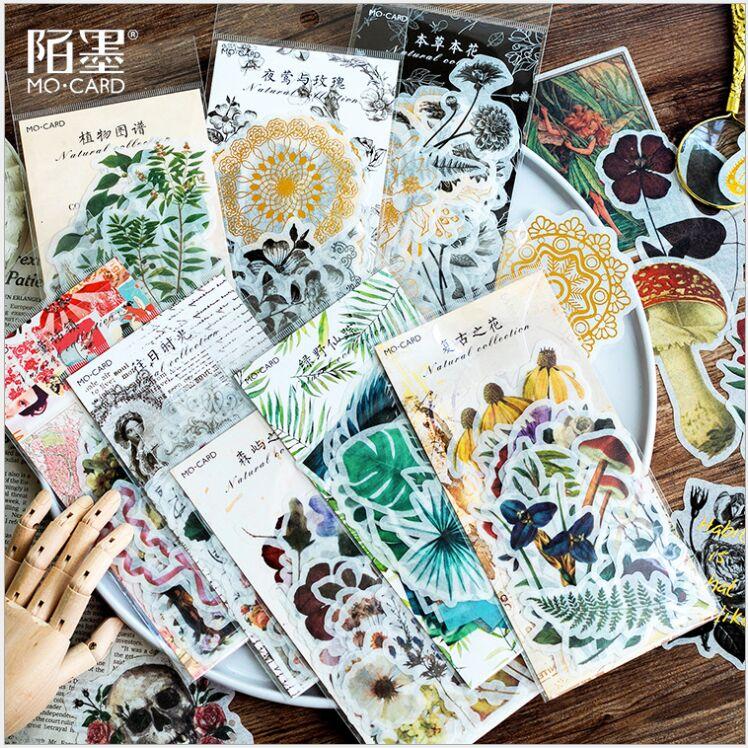 60pcs/pack Retro Golden Skull Flowers Plants Cactus Tropical Vibes Fairy Tale DIY Decoration Planner Scrapbook Sticker Escolar