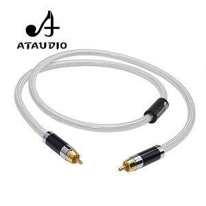 ATAUDIO Hifi numérique Coaxial Audio vidéo câble Rca haut de gamme cuivre et argent RCA à RCA mâle Subwoofer câble Audio