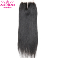 Aliballad Brazilian Straight Middle Part 4x4 Lace Closure 10 20 Inch Non Remy Hair Natural Color