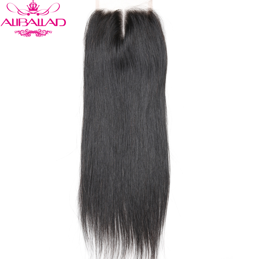 Aliballad Brazilian Straight Hair Closure 4x4 Swiss Lace Closure Middle Part 10 To 20 Inch Remy Human Hair Lace Closures