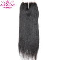 Aliballad Brazilian Straight Middle Part 4x4 Lace Closure 10 20 Inch Non Remy Hair Natural Color