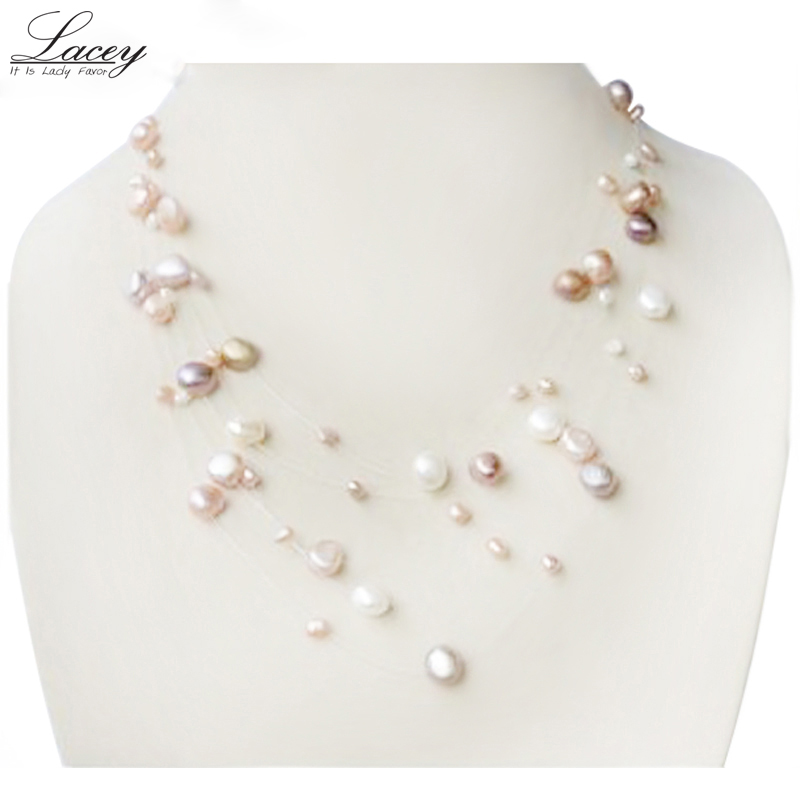 Fashion Natural Freshwater Pearl Bracelet Necklace Jewelry Set Women Mother Gift