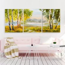 Laeacco Canvas Painting Calligraphy 3 Panel Spring Trees Abstract Poster and Prints Wall Picture For Living Room Home Decor