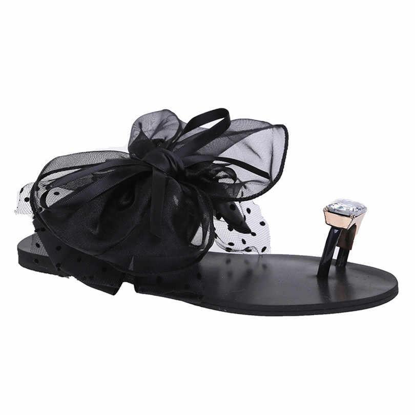 Lâm Vua Ngọt Bowtie Ren Hoa Đế Phẳng Dép Thời Trang Pha Lê Bé Gái Trượt Đi Biển Giày Plus Size 42