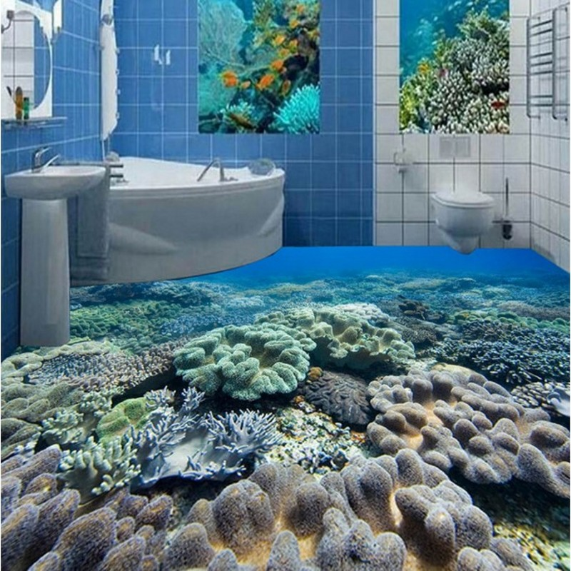 Beibehang large custom flooring stickers submarine coral for Pavimento in resina 3d