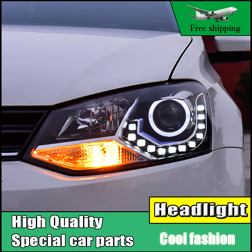 Car Styling Head Lamp For VW Polo LED Headlight 2010-2016 Polo GTI Angel Eyes LED Daytime Running Light Bi-Xenon HID Accessories free shipping 55w xenon hid kit lamp aluminum shell ballast 3000k 15000k dc car head light headlight for vw passat 2002 2010