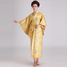 High Quality Japanese Female Traditional Satin Kimono Yukata With Obi Classic Evening Dress Halloween Costume One Size JK063(China)