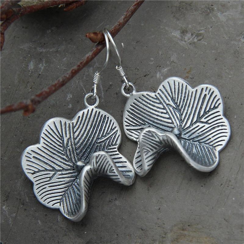 S925 Sterling Silver Earrings Lotus Leaf Earring for women Original Silver Earring Vintage Earrings Art Boutique Jewelry Gifts серьги art silver art silver ar004dwzmh30